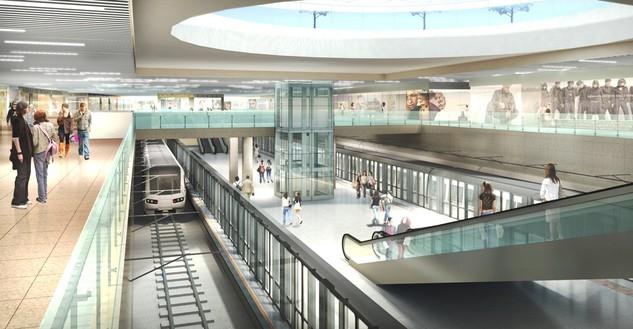 Phối cảnh ga Nhà hát thành phố thuộc tuyến metro Bến Thành - Suối Tiên với các cửa hàng, trung tâm thương mại