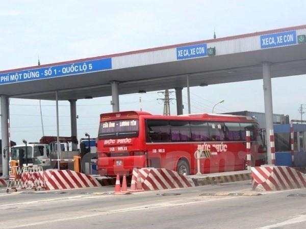 Trạm thu phí số 1 của tuyến Quốc lộ 5. (Ảnh: Việt Hùng/Vietnam+)