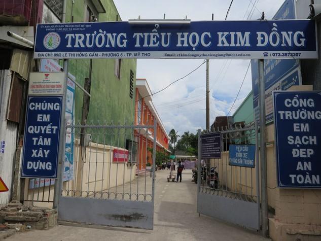 Trường Tiểu học Kim Đồng, một công trình bị khiếu kiện về việc nhà thầu mua đi bán lại ở Mỹ Tho, Tiền Giang. Ảnh: Văn Huyền