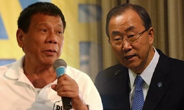 Tổng thống Philippines Rodrigo Duterte (trái) và Tổng thư ký Liên Hợp Quốc Ban Ki-moon. Ảnh: Rappler.