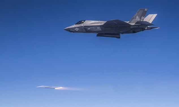 Tiêm kích F-35B phóng tên lửa AIM-120 trong một cuộc thử nghiệm. Ảnh:MarineTimes
