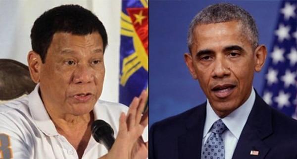 Tổng thống Philippines Rodrigo Duterte và người đồng cấp Mỹ Barack Obama. Ảnh: ABS-CBN
