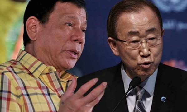 """Tổng thống Philippines (trái) gọi Tổng thư ký LHQ Ban Ki-moon là """"kẻ ngốc"""". Ảnh:Rappler."""