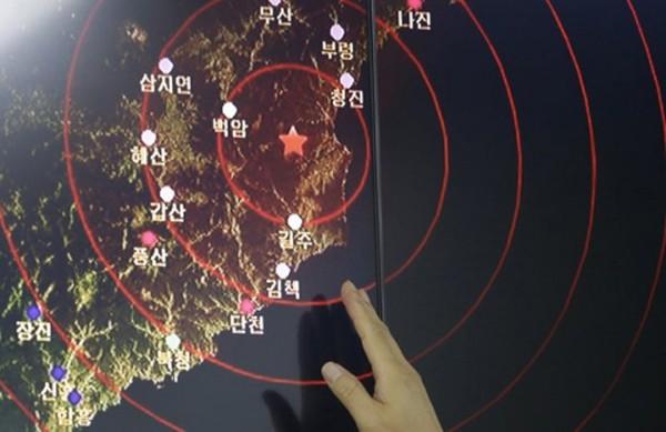 Vị trí tâm sóng rung chấn do Triều Tiên thử hạt nhân. Ảnh: AP