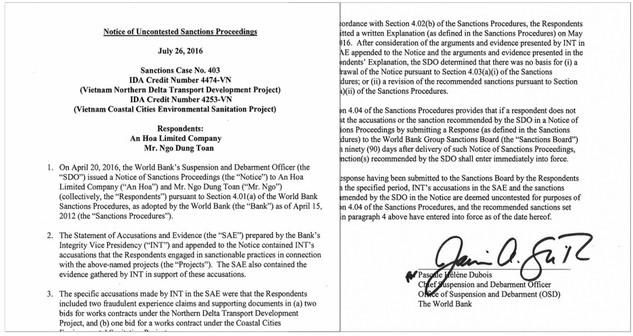 Công ty TNHH An Hòa bị World Bank cấm tham gia đấu thầu đến ngày 25/7/2021