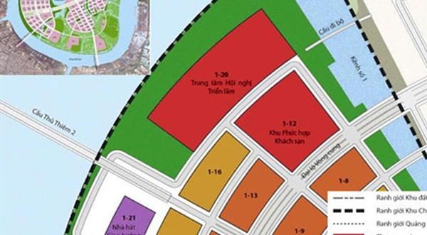 Vị trí xây khu phức hợp trung tâm hội nghị triển lãm (màu đỏ) hình cánh hoa sen trong khu đô thị Thủ Thiêm. Ảnh: BQL Thủ Thiêm