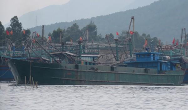 Con tàu xả bùn thải trái phép bị biên phòng Nghệ An bắt giữ. Ảnh: H.B