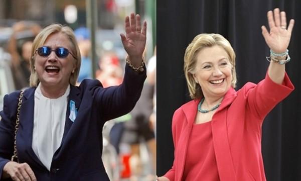 Người dùng mạng cho rằng bà Clinton có ngón tay trỏ dài hơn ngón đeo nhẫn, trong khi người thế thân của bà thì ngược lại. Ảnh: Twitter