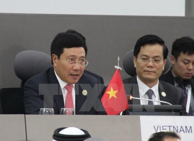 Phó Thủ tướng, Bộ trưởng Ngoại giao Phạm Bình Minh phát biểu trong phiên họp chiều 17/9 của Hội nghị cấp cao NAM. (Ảnh: Vũ Lê Hà/TTXVN)