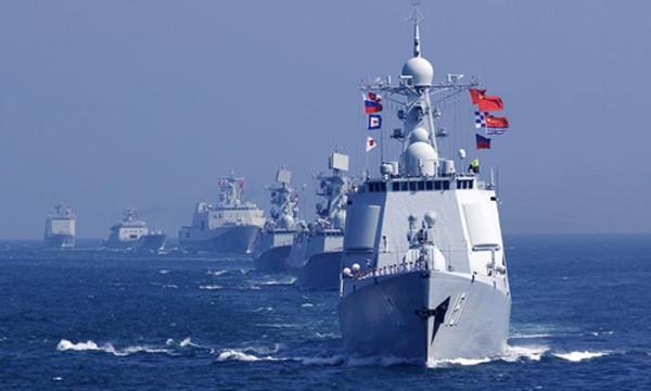 Tàu chiến Nga tham gia cuộc tập trận chung với hải quân Trung Quốc. Ảnh:News.cn