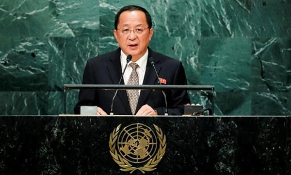 Ngoại trưởng Triều Tiên Ri Yong-ho phát biểu tại Đại Hội đồng Liên Hợp Quốc, New York, Mỹ, ngày 23/9. Ảnh:Reuters.