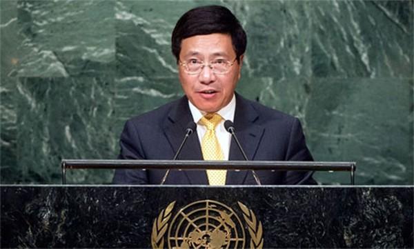 Phó thủ tướng Phạm Bình Minh tại Đại hội đồng LHQ. Ảnh:UN
