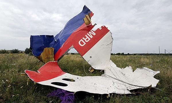 Một mảnh vỡ của chiếc máy bay MH17 bị bắn rơi ở đông Ukraine. Ảnh: AFP