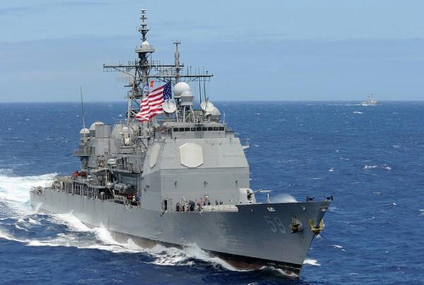 Tuần dương hạm USS Princeton của hải quân Mỹ. Ảnh:US Navy
