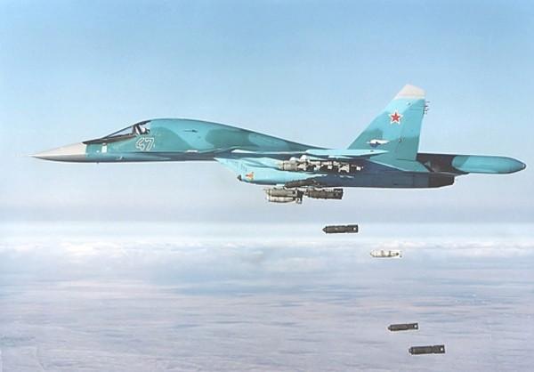 Tiêm kích bom Su-34 Nga không kích ở Syria. Ảnh: Sputnik