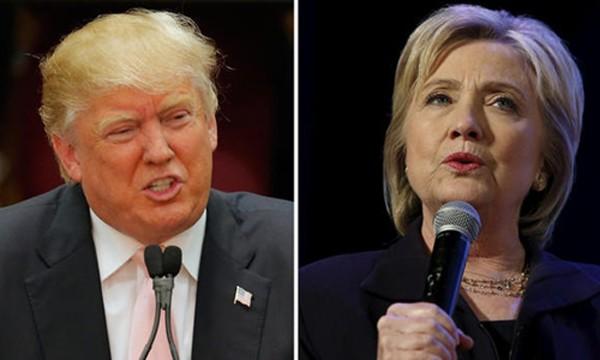 Ứng viên tổng thống đảng Cộng hòa Donald Trump (trái) và đảng Dân chủ Hillary Clinton. Ảnh: CBS News.