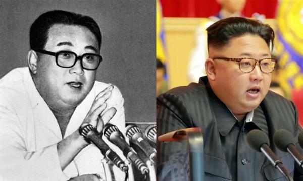Lãnh đạo Triều Tiên Kim Jong-un (phải) và ông nội, Kim Nhật Thành. Ảnh:WSJ