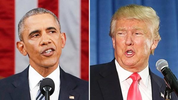 Tổng thống Mỹ Barack Obama và ứng viên tổng thống đảng Cộng hòa Donald Trump. Ảnh: USWeekly