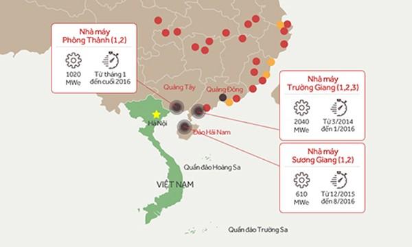 Vị trí ba nhà máy điện hạt nhân của Trung Quốc gần Việt Nam. Đồ họa: Tiến Thành.