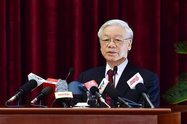 Tổng Bí thư Nguyễn Phú Trọng phát biểu bế mạc Hội nghị. Ảnh: Nguyễn Hoàng