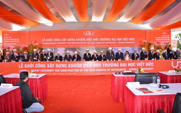 Dự án Xây dựng Trường Đại học Việt Đức được khởi công ngày 6/10/2016. Ảnh: Cao Dung