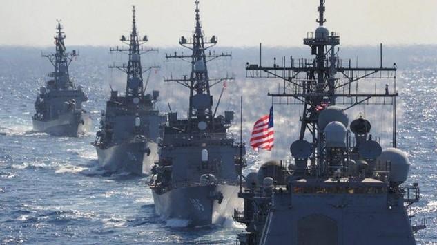 Tàu chiến Mỹ tham gia tập trận với Hàn Quốc. (Ảnh: AFP)