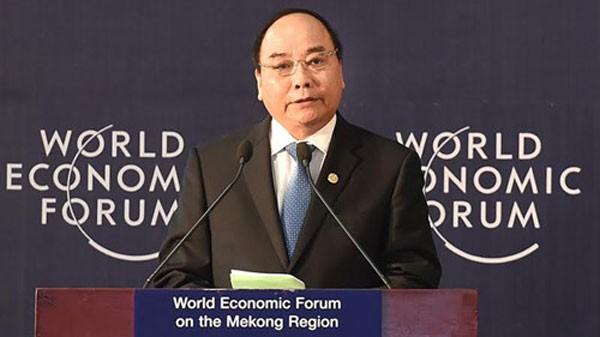 Thủ tướng Chính phủ Nguyễn Xuân Phúc phát biểu khai mạc Diễn đàn Kinh tế thế giới về Khu vực Mê Công