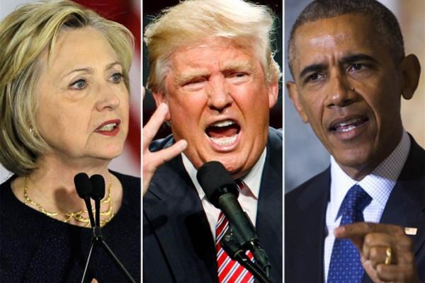 Ứng viên tổng thống đảng Dân chủ Hillary Clinton, ứng viên đảng Cộng hoà Donald Trump và Tổng thống Mỹ Barack Obama. Ảnh: NBCNews