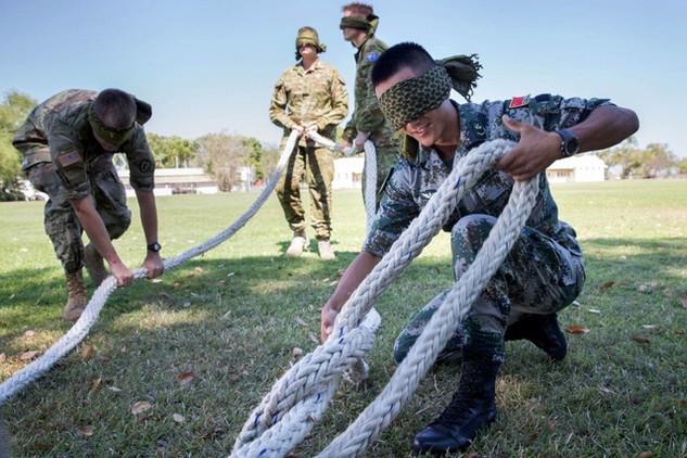 Binh sĩ Trung Quốc, Mỹ và Australia tham gia cuộc tập trận chung Kowari 2016 giữa 3 nước (Ảnh: Stripes)