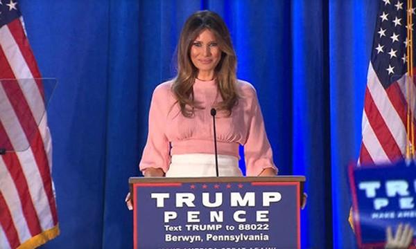 Bà Melania phát biểu tại ngoại ô thành phố Philadelphia, bang Pennsylvania hôm qua. Ảnh: CBS