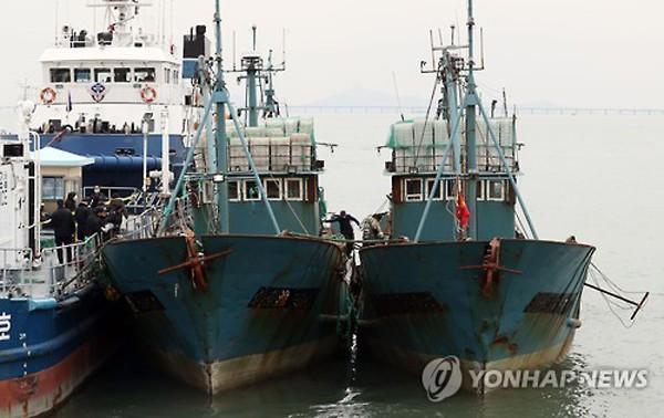 Hai tàu cá Trung Quốc bị tịch thu khi đang đánh bắt cá trái phép ở vùng biển Hàn Quốc hôm 2/11 đến cảng Incheon. Trước đó, tuần duyên Hàn Quốc dùng súng máy M60 bắn cảnh cáo để bắt các tàu này. Ảnh: Yonhap