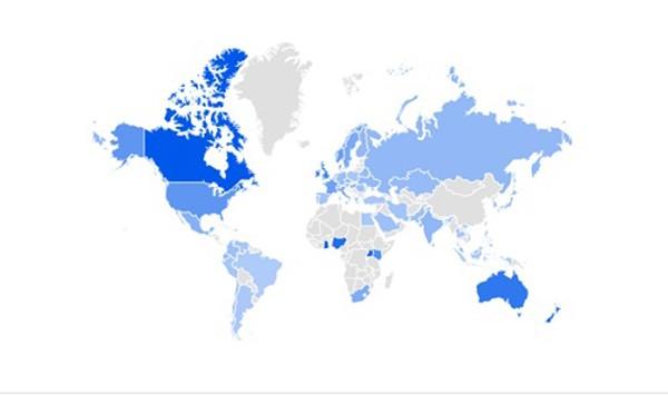 Những khu vực quan tâm tới bầu cử tổng thống Mỹ nhất, thể hiện từ thấp đến cao theo màu xanh từ nhạt tới đậm. Ảnh: Google
