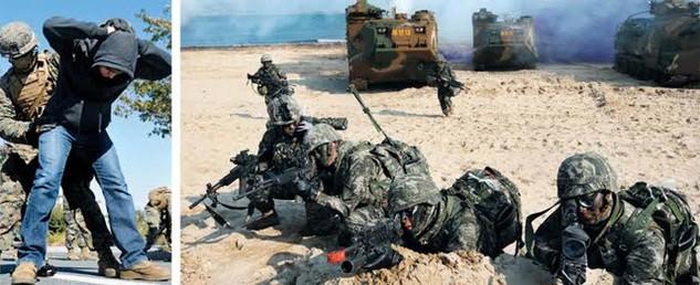 Quân đội Mỹ - Hàn tập trận tại Pohang, Gyeongsang (Ảnh: ChosunIlbo)