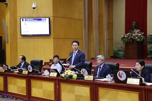 Bộ trưởng Trần Hồng Hà phát biểu khai mạc buổi giao lưu trực tuyến . Ảnh VGP/Thu Cúc
