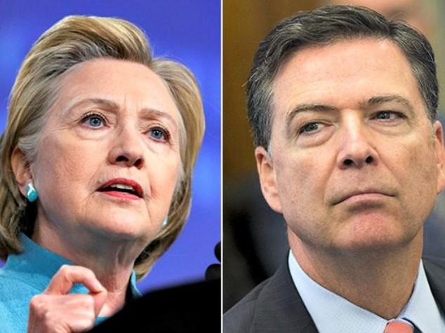Giám đốc FBI James Comey (phải) và ứng viên tổng thống Hillary Clinton. (Ảnh: Getty)