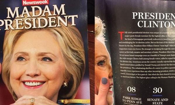 Báo chí Mỹ đa số đều dự đoán chiến thắng cho bà Hillary Clinton. Ảnh:Newsweek
