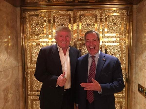 Tổng thống Mỹ đắc cử Donald Trump và lãnh đạo đảng Độc lập Vương quốc Anh Nigel Farage. Ảnh: Facebook