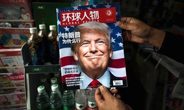 Ông Donald Trump xuất hiện trên trang bìa một tạp chí Trung Quốc. Ảnh: AFP