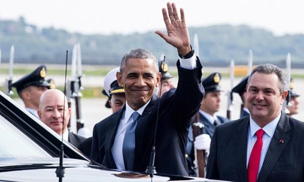 Obama đặt chân đến Athens, Hy Lạp hôm 15/11. Ảnh:Anadolu