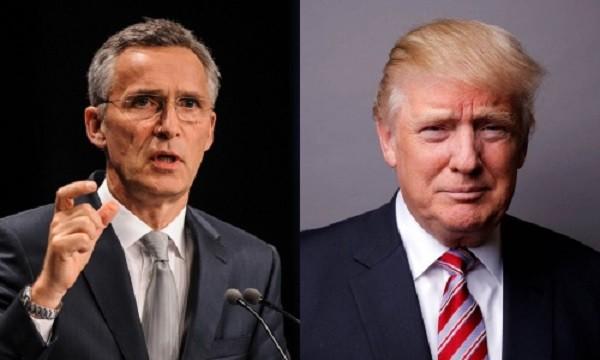 Jens Stoltenberg, Tổng thư ký Tổ chức Hiệp ước Bắc Đại Tây Dương (NATO) và Tổng thống Mỹ đắc cử Donald Trump. Ảnh:Independent, Reuters
