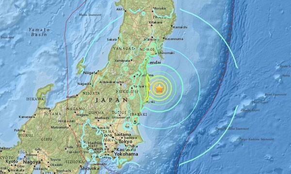Động đất xảy ra ở khu vực từng có thảm hoạ hạt nhân hồi 2011. Ảnh:USGS