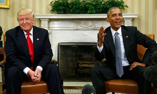 Tổng thống đắc cử Donald Trump và Tổng thống Barack Obama phát biểu với báo giới sau cuộc gặp tại Nhà Trắng hôm 10/11. Ảnh:Reuters.
