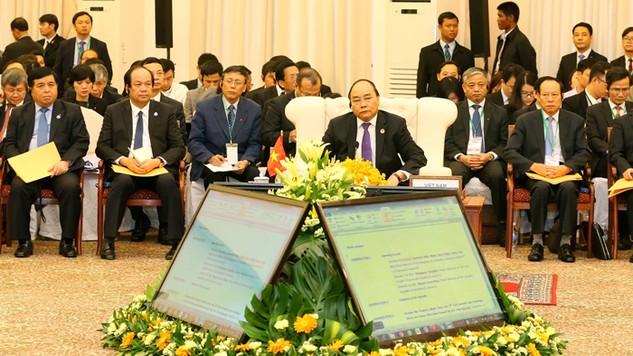 Thủ tướng Nguyễn Xuân Phúc tại Hội nghị Cấp cao Khu vực Tam giác phát triển Campuchia - Lào - Việt Nam lần thứ 9. Ảnh: Thống Nhất - TTXVN