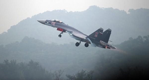 Một tiêm kích Su-35S của Nga đang cất cánh. Ảnh:AFP.