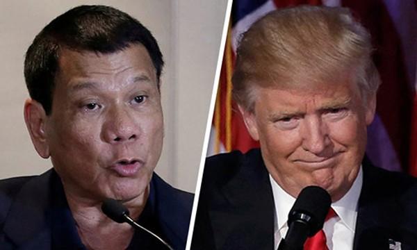 Tổng thống Philippines Duterte (trái) và Tổng thống đắc cử Mỹ Trump. Ảnh:CBS
