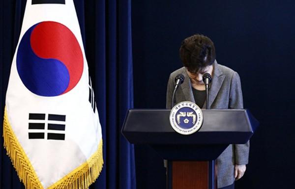 Bà Park cúi đầu trước bàiphát biểu hôm nay. Ảnh:Reuters