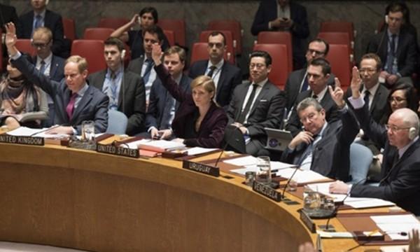 Thành viên Hội đồng Bảo an biểu quyết trừng phạt Triều Tiên hồi tháng 3 tại trụ sở Liên Hợp Quốc, New York, Mỹ. Ảnh:AFP.