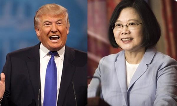 Tổng thống đắc cử Donald Trump và nhà lãnh đạo Đài Loan Thái Anh Văn. Ảnh:Hong Kong Free Press.