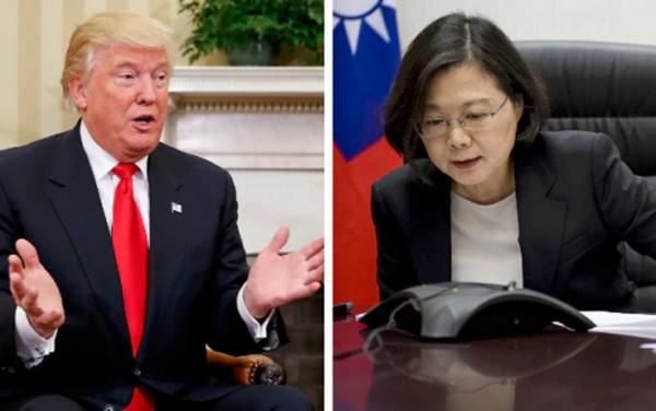 Tổng thống Mỹ đắc cử Donald Trump và lãnh đạo Đài Loan Thái Anh Văn. Ảnh:Telegraph