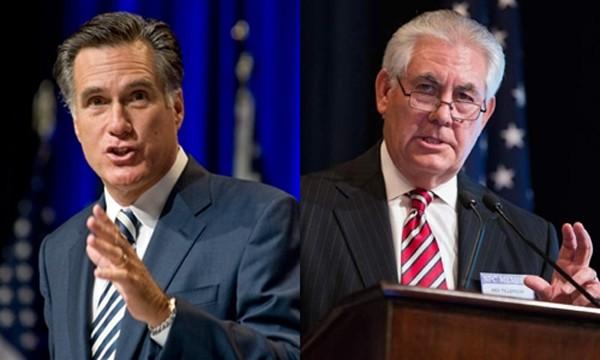 Ông Mitt Romney (trái) và ông Rex Tillerson. Ảnh:AP.